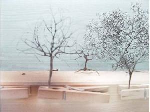 Saupoudrage de mousse La fabrication d'arbres miniatures